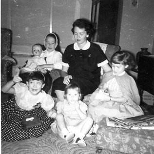 Christmas 1959, Karen and mother and sister, mother is due with fifth child, a boy.
